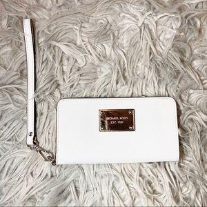 White Michael Kors Silver Hardware Wristlet Wallet